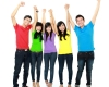 Happy young asian people with arm raised